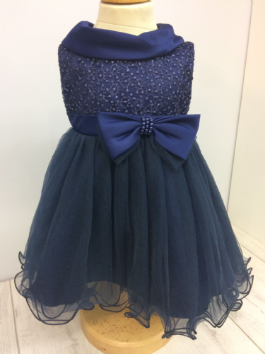 Navy Dress with Embroidered Bodice